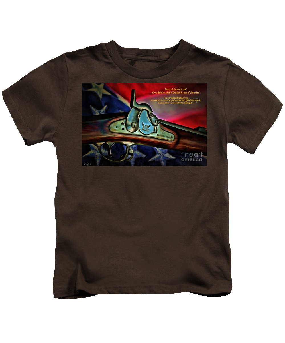 Union Kids T-Shirt featuring the digital art Defender Of Freedom - 2nd Amendment 2 by Tommy Anderson