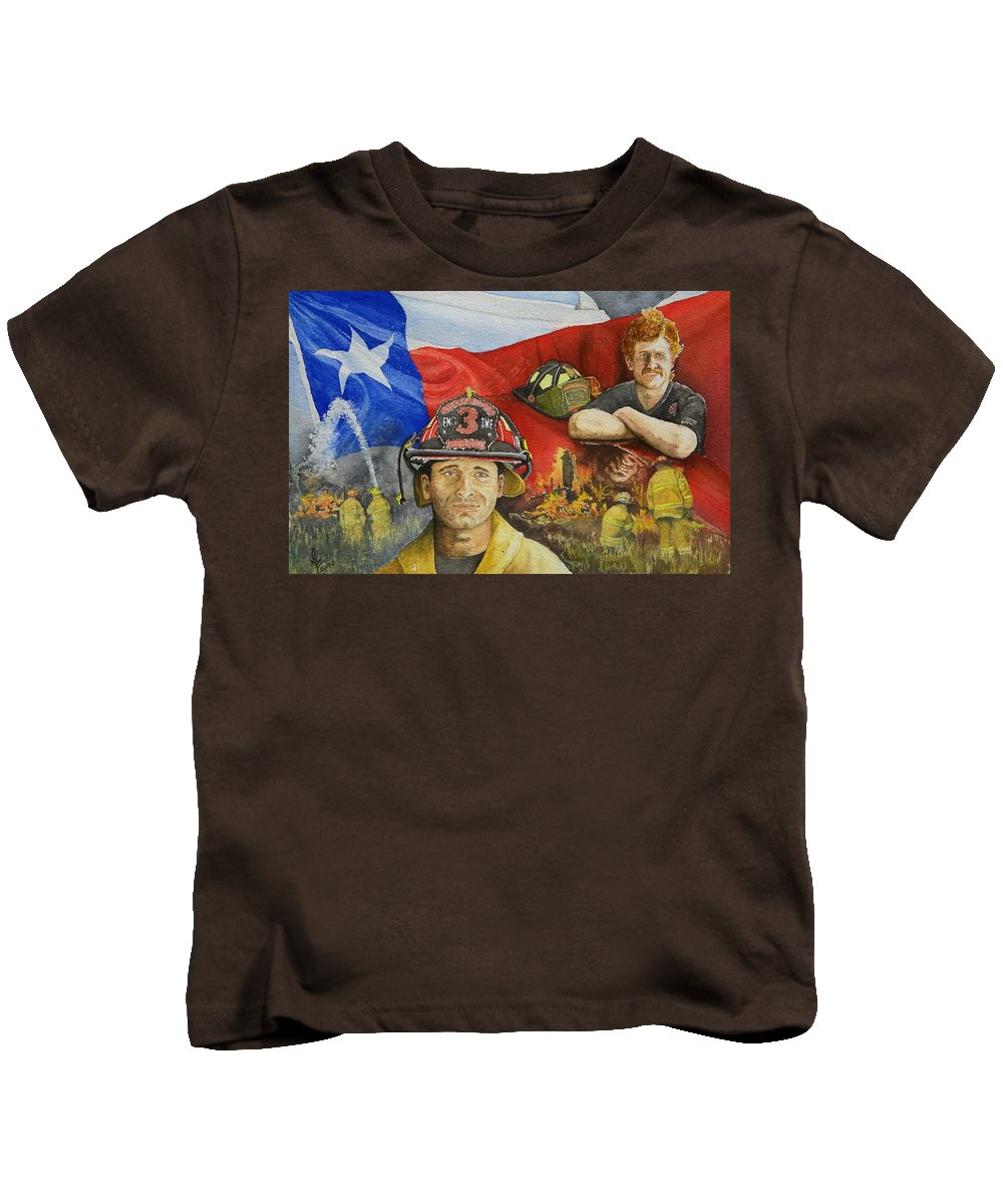Firemen Kids T-Shirt featuring the painting Defending Texas by Gale Cochran-Smith