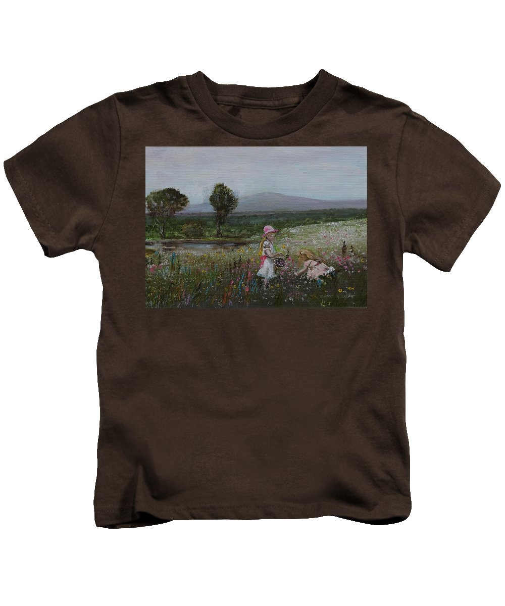 Impressionist Kids T-Shirt featuring the painting Delights Of Spring - Lmj by Ruth Kamenev