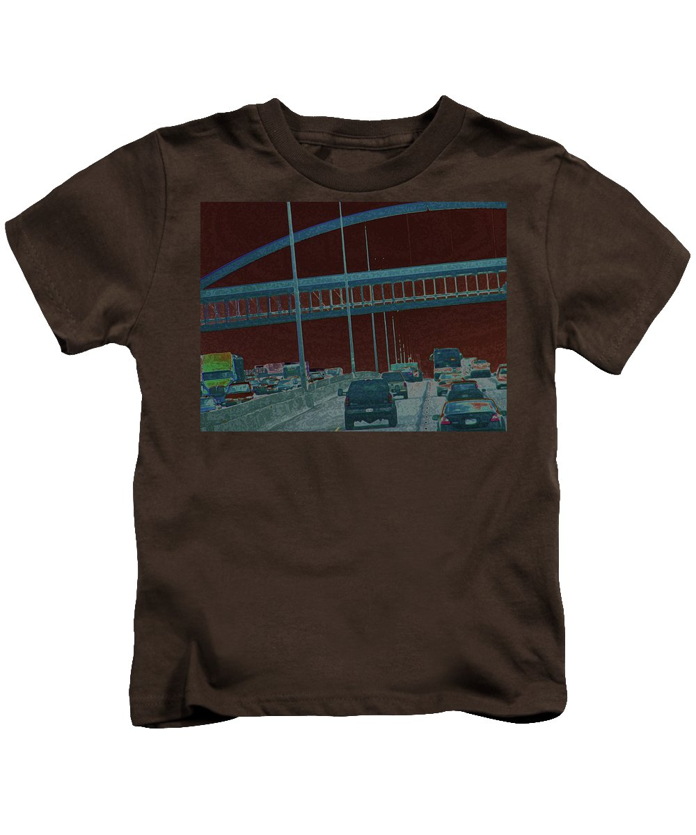 Abstract Kids T-Shirt featuring the photograph Denver Walkway by Lenore Senior