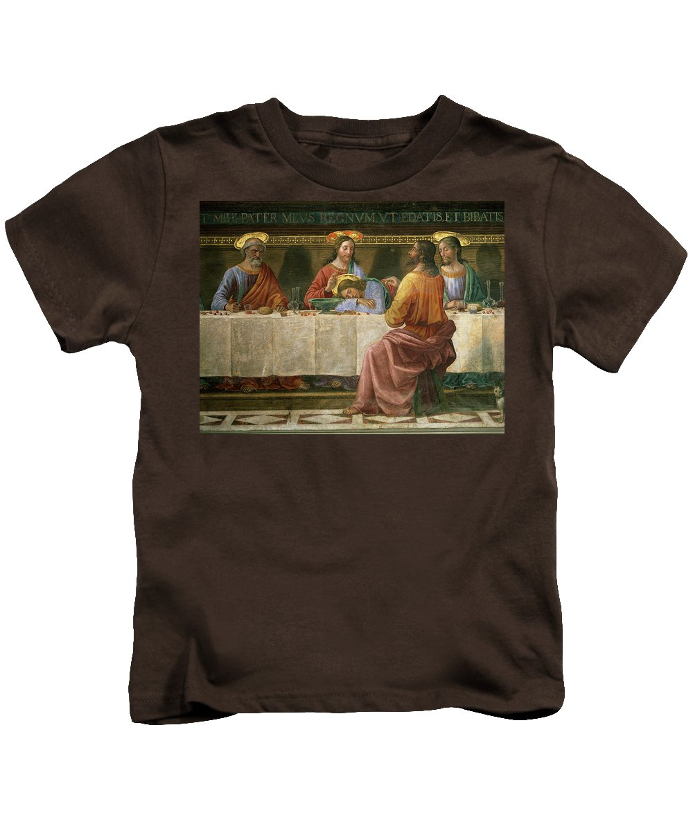 Detail Kids T-Shirt featuring the painting Detail From The Last Supper by Domenico Ghirlandaio