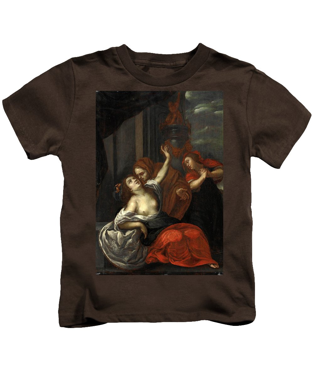 Giuseppe Nuvolone Kids T-Shirt featuring the painting Dido Wounded by Giuseppe Nuvolone