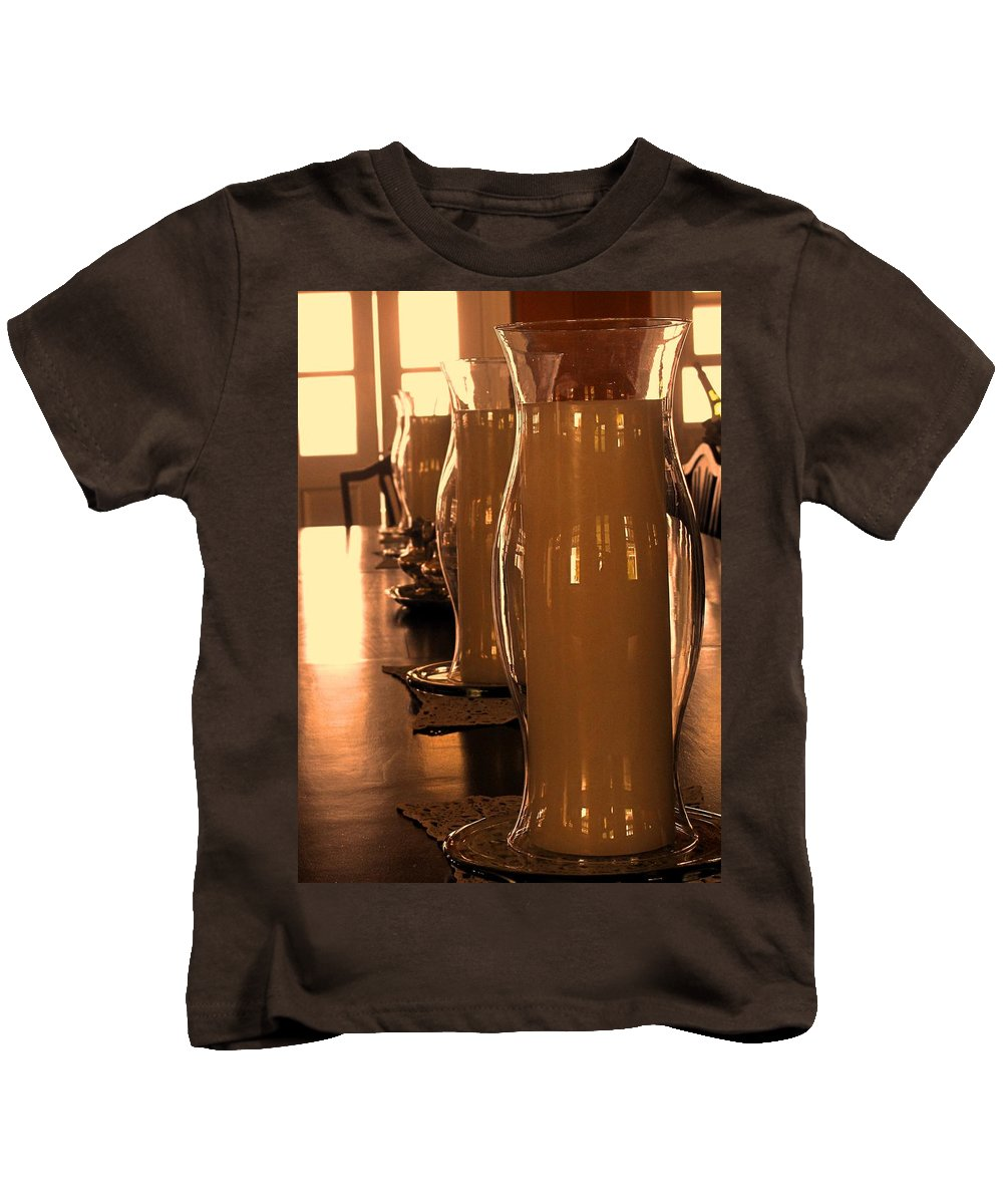 Fairview Great House Kids T-Shirt featuring the photograph Dining Room Candles by Ian MacDonald