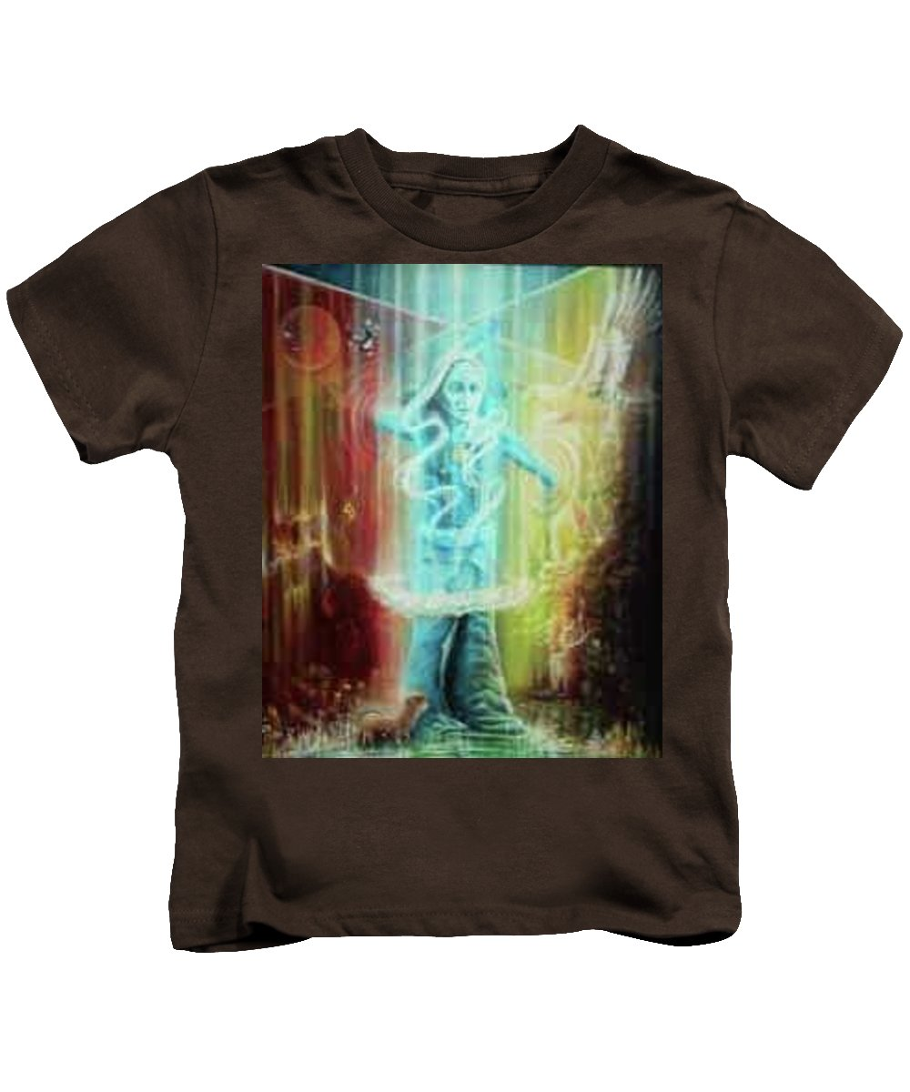 Fantansy Kids T-Shirt featuring the painting Direction Seeker by DC Houle