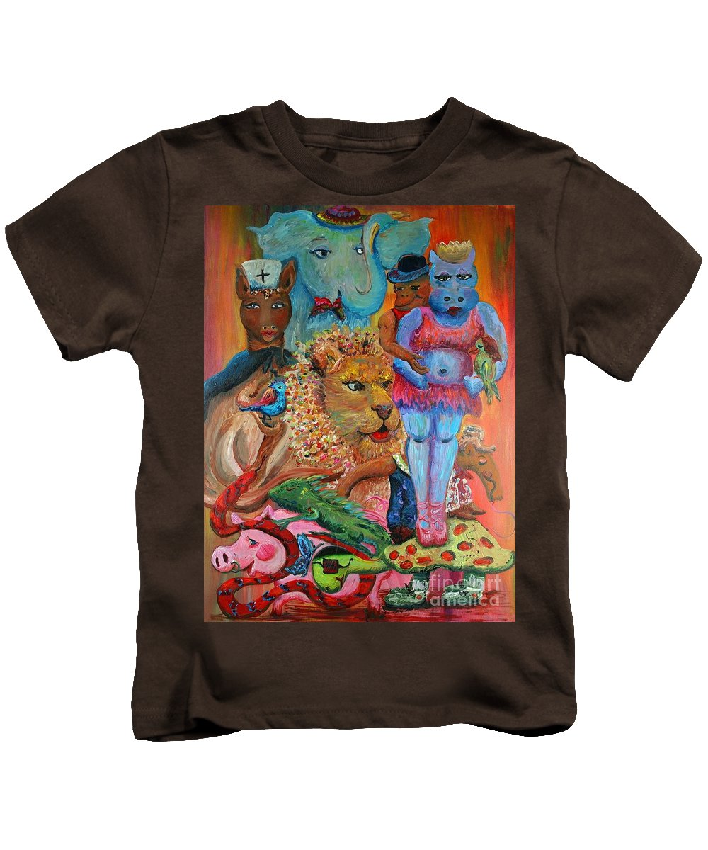 Diversity Kids T-Shirt featuring the painting Diversity by Nadine Rippelmeyer