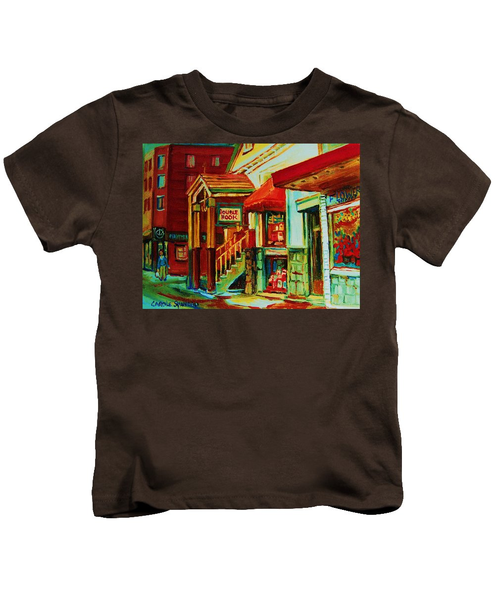Double Hook Bookstore Kids T-Shirt featuring the painting Double Hook Book Nook by Carole Spandau