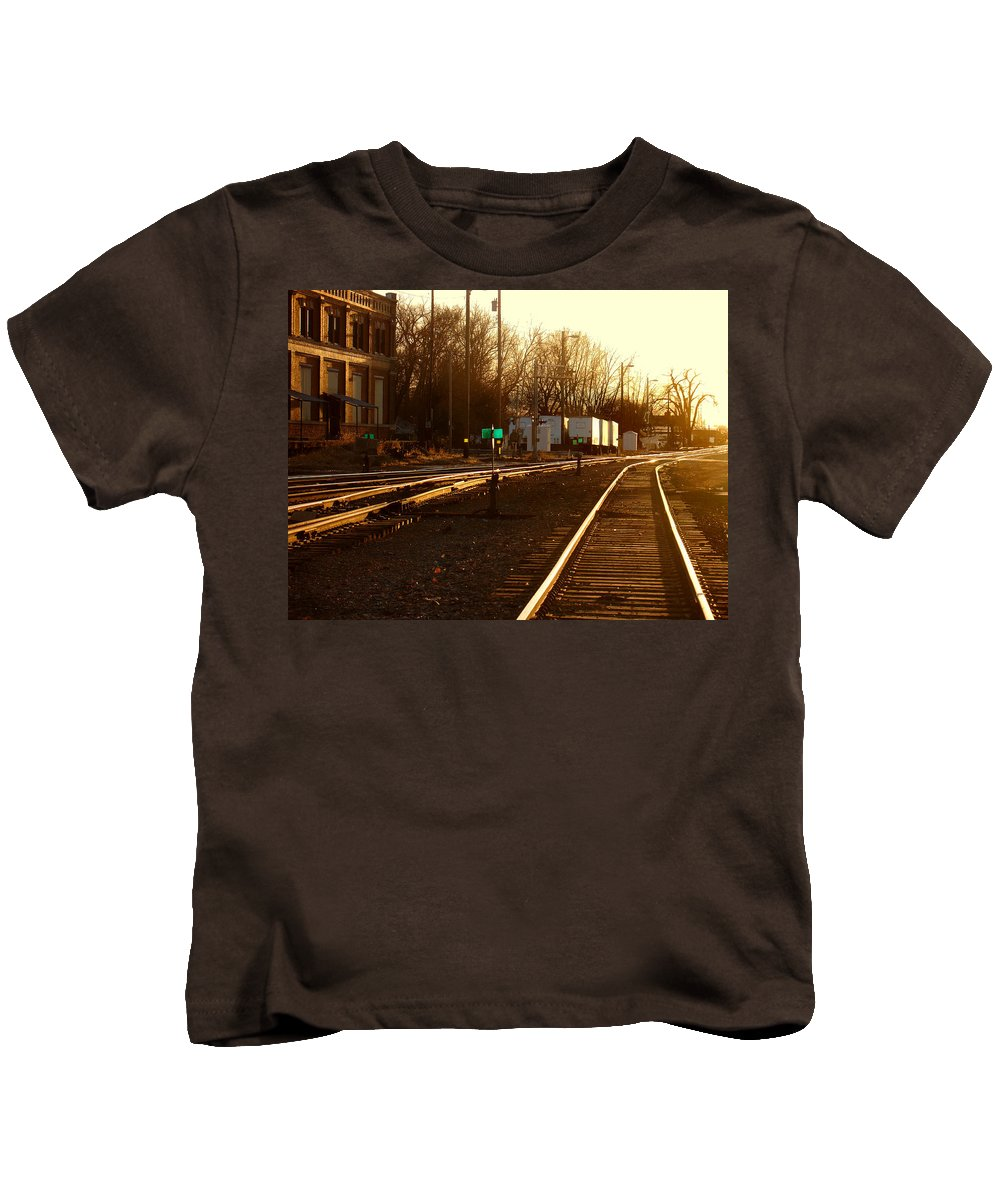 Landscape Kids T-Shirt featuring the photograph Down The Right Track by Steve Karol