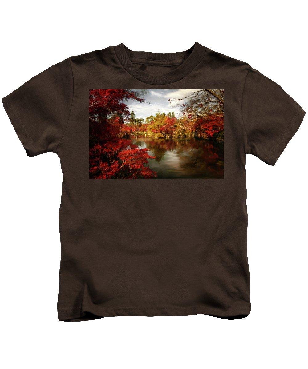Dreamy Autumn Impressionism Kids T-Shirt featuring the painting Dreamy Autumn Impressionism by Georgiana Romanovna