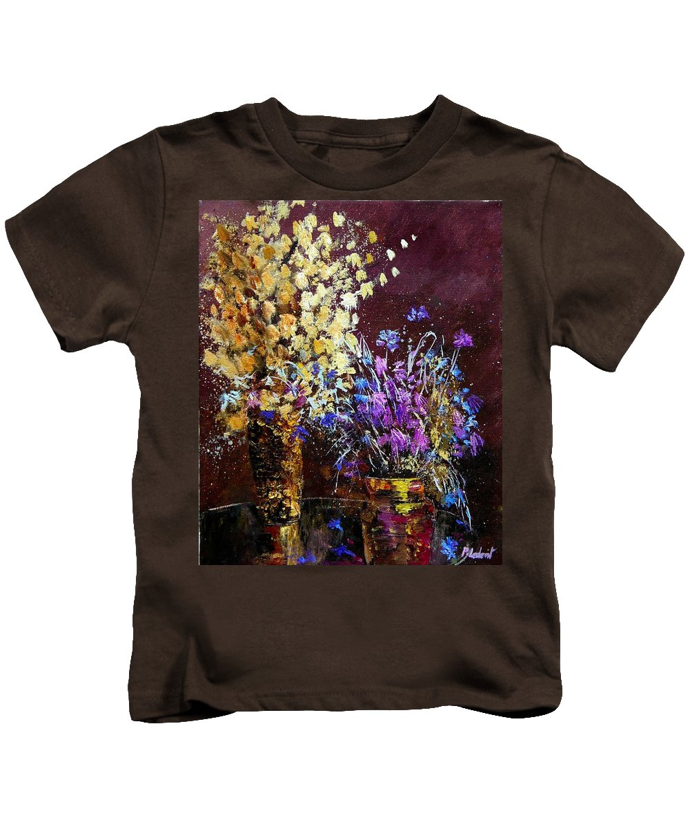 Flowers Kids T-Shirt featuring the painting Dried Flowers by Pol Ledent
