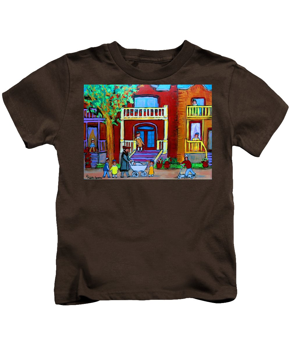 Judaica Kids T-Shirt featuring the painting Durocher Street Montreal by Carole Spandau