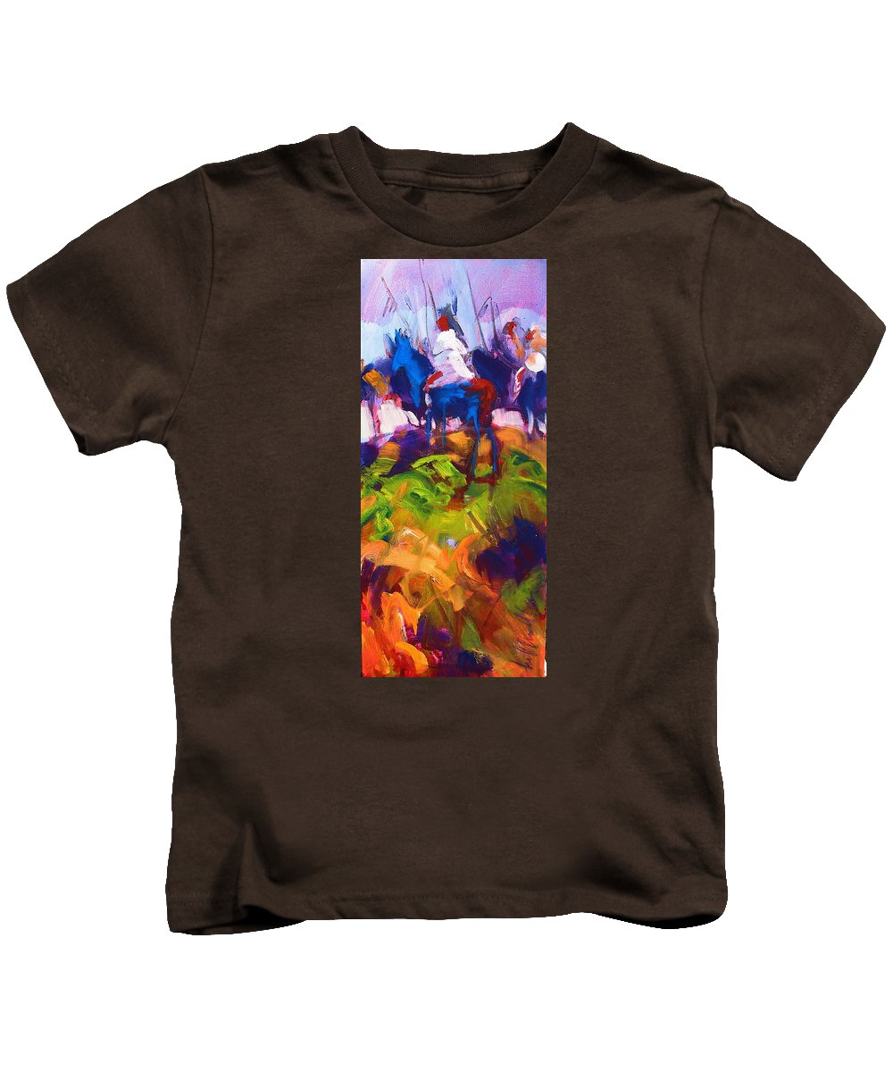 Indians Kids T-Shirt featuring the painting Earth People by Les Leffingwell