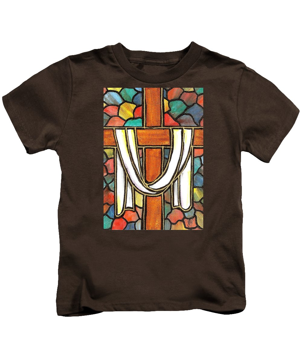 Easter Kids T-Shirt featuring the painting Easter Cross 6 by Jim Harris