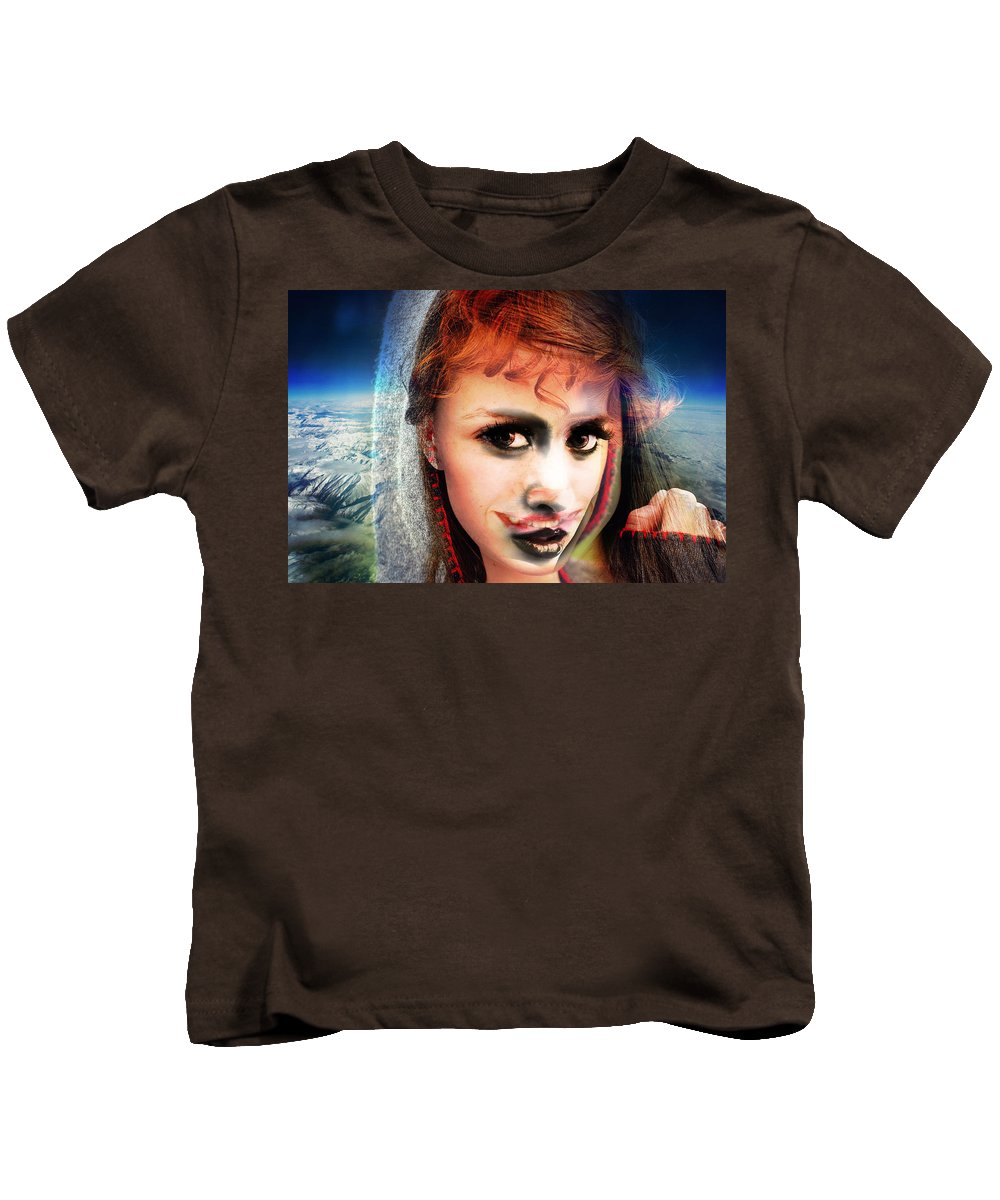 Kids T-Shirt featuring the painting Eddie Wants Her Joint by Maciej Mackiewicz