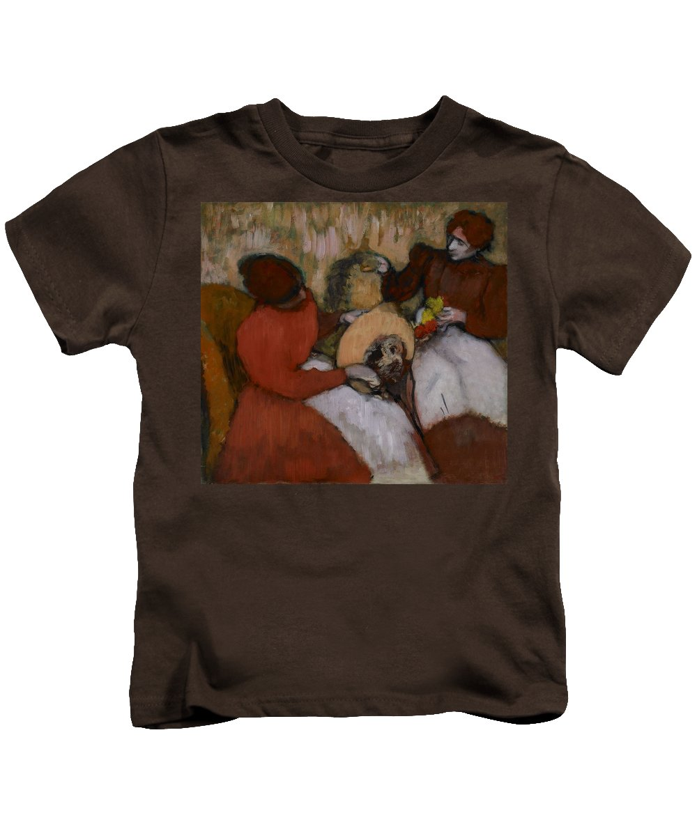Man Kids T-Shirt featuring the painting Edgar Degas - The Milliners - 1898 by Edgar Degas