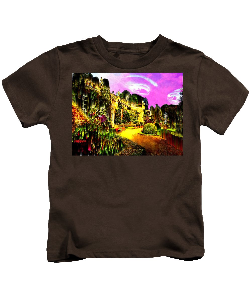 Mansion Kids T-Shirt featuring the digital art Eerie Estate by Seth Weaver