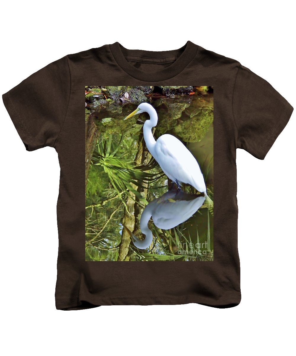 Egret Kids T-Shirt featuring the photograph Egret Reflections by D Hackett