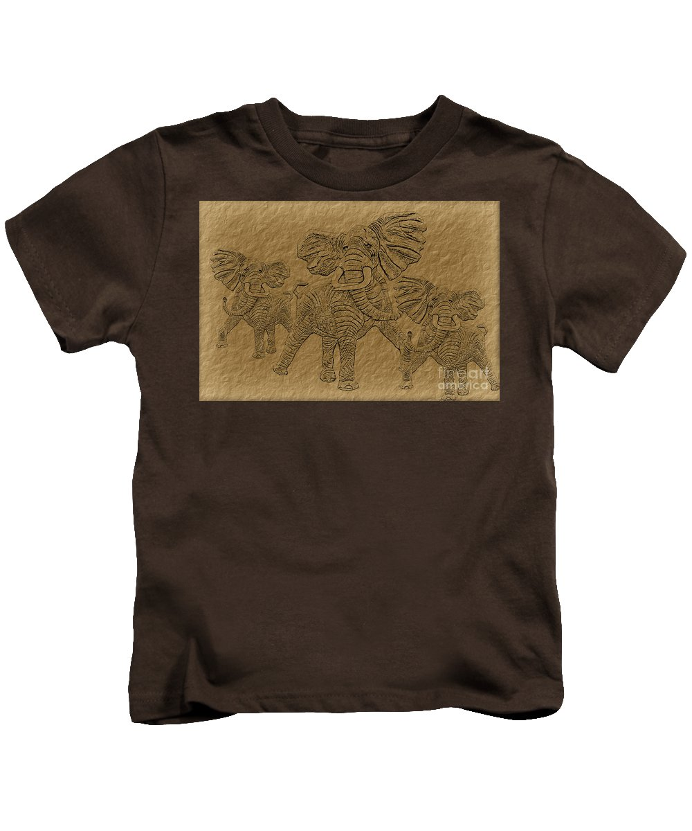 Elephant Kids T-Shirt featuring the digital art Elephants Three by Tim Hightower