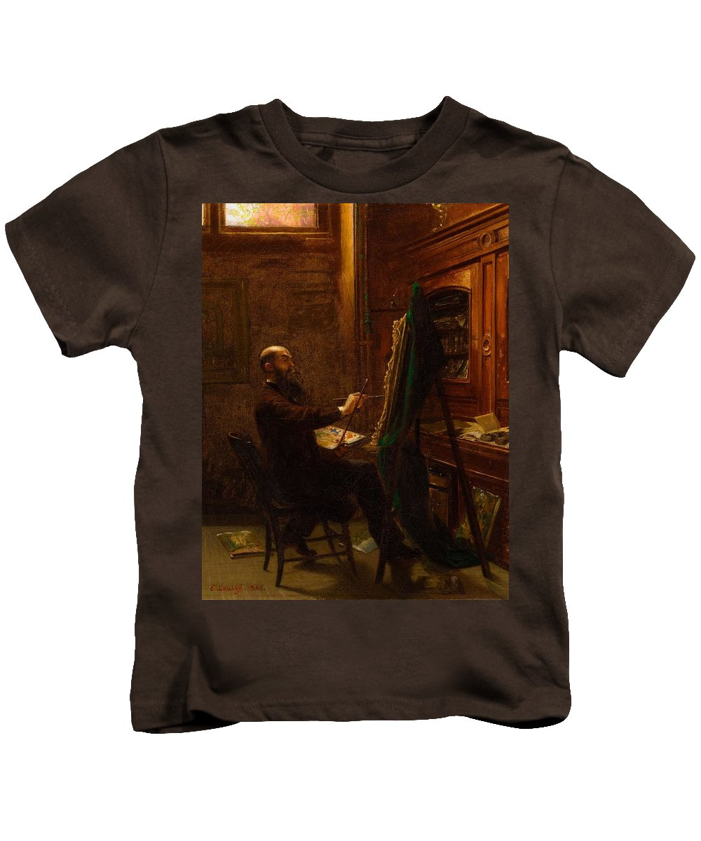 Worthington Whittredge In His Tenth Street Studio Kids T-Shirt featuring the painting Emanuel Gottlieb Leutze by Worthington Whittredge