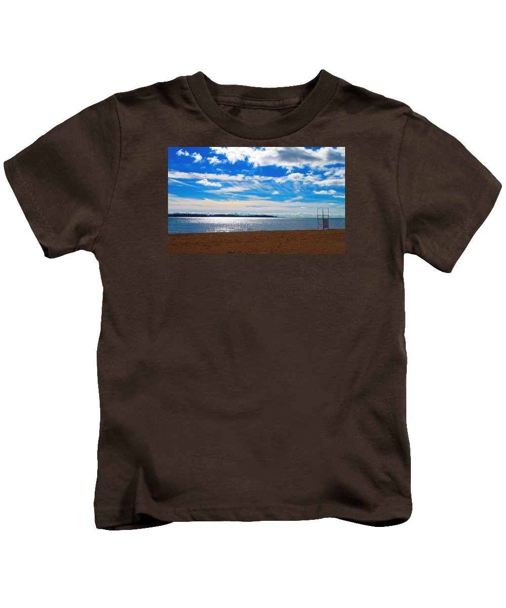 February Kids T-Shirt featuring the photograph Endless Sky by Valentino Visentini