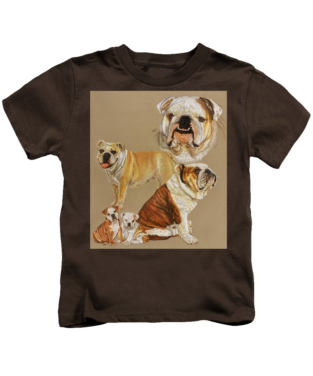 Purebred Kids T-Shirt featuring the drawing English Bulldog by Barbara Keith