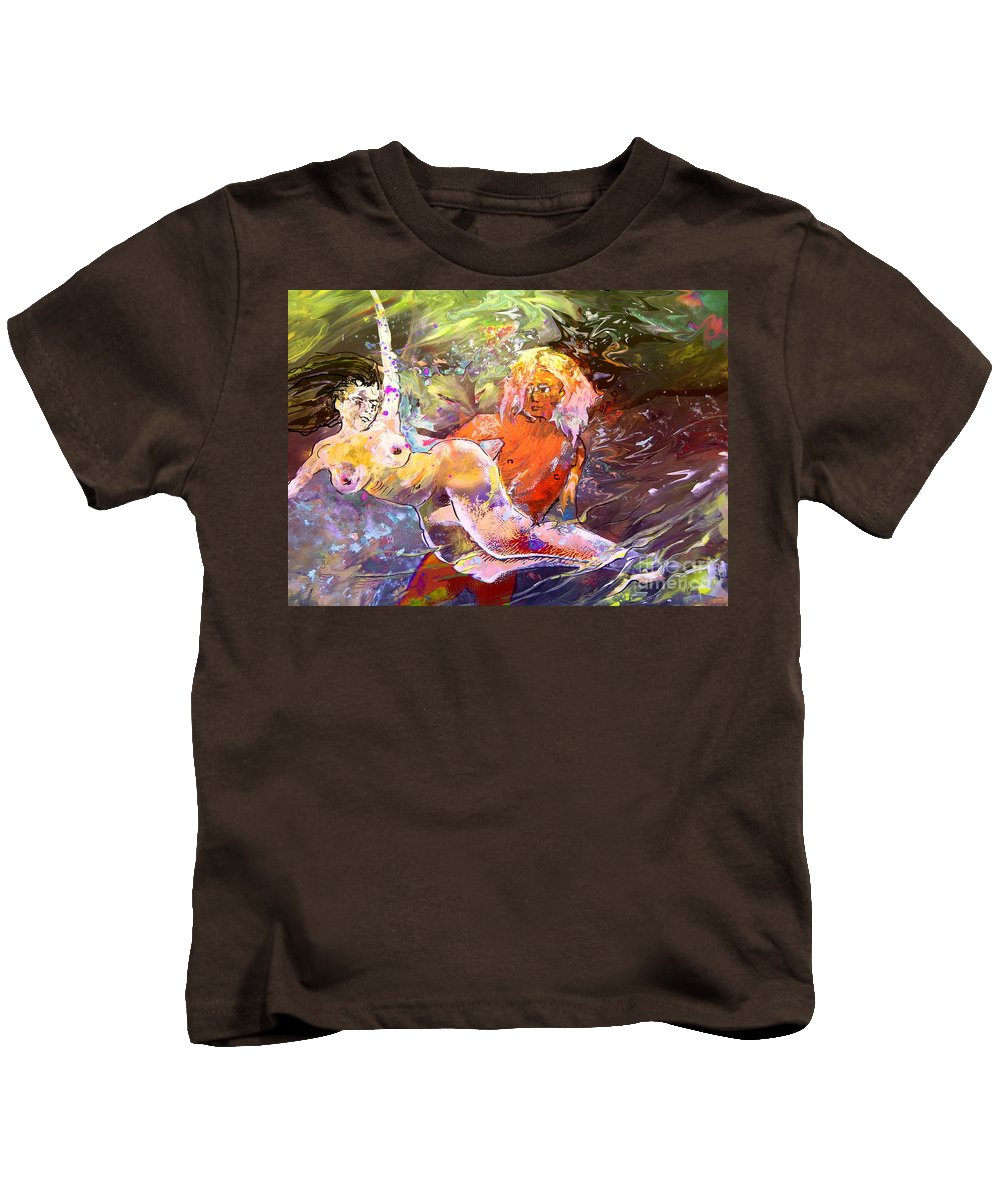 Miki Kids T-Shirt featuring the painting Erotype 06 1 by Miki De Goodaboom
