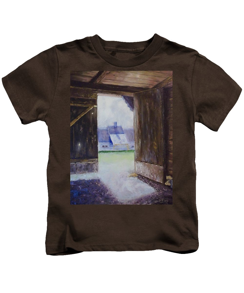 Shed Kids T-Shirt featuring the painting Escape The Sun by Stephen King
