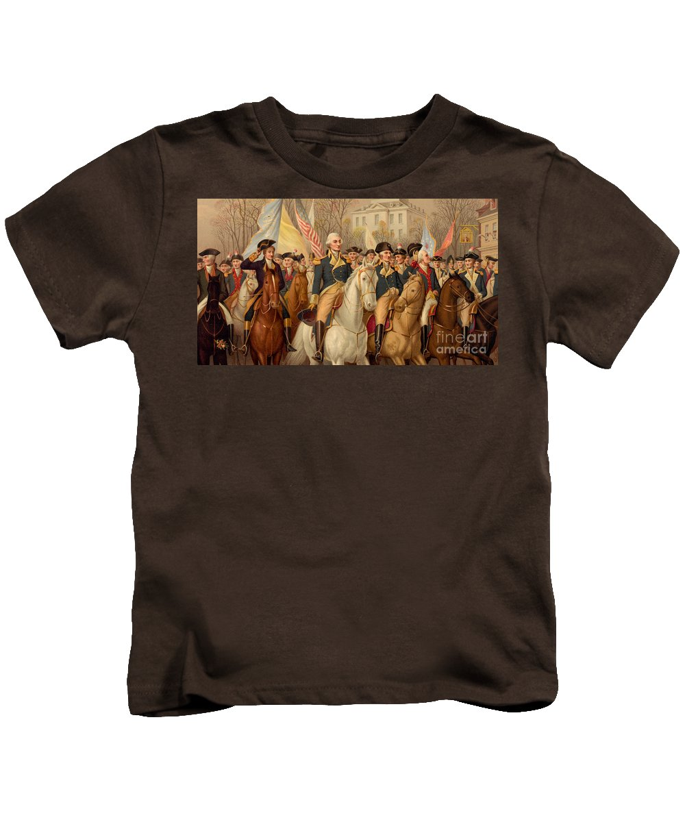 George Washington Kids T-Shirt featuring the painting Evacuation Day And Washington's Triumphal Entry In New York City by American School