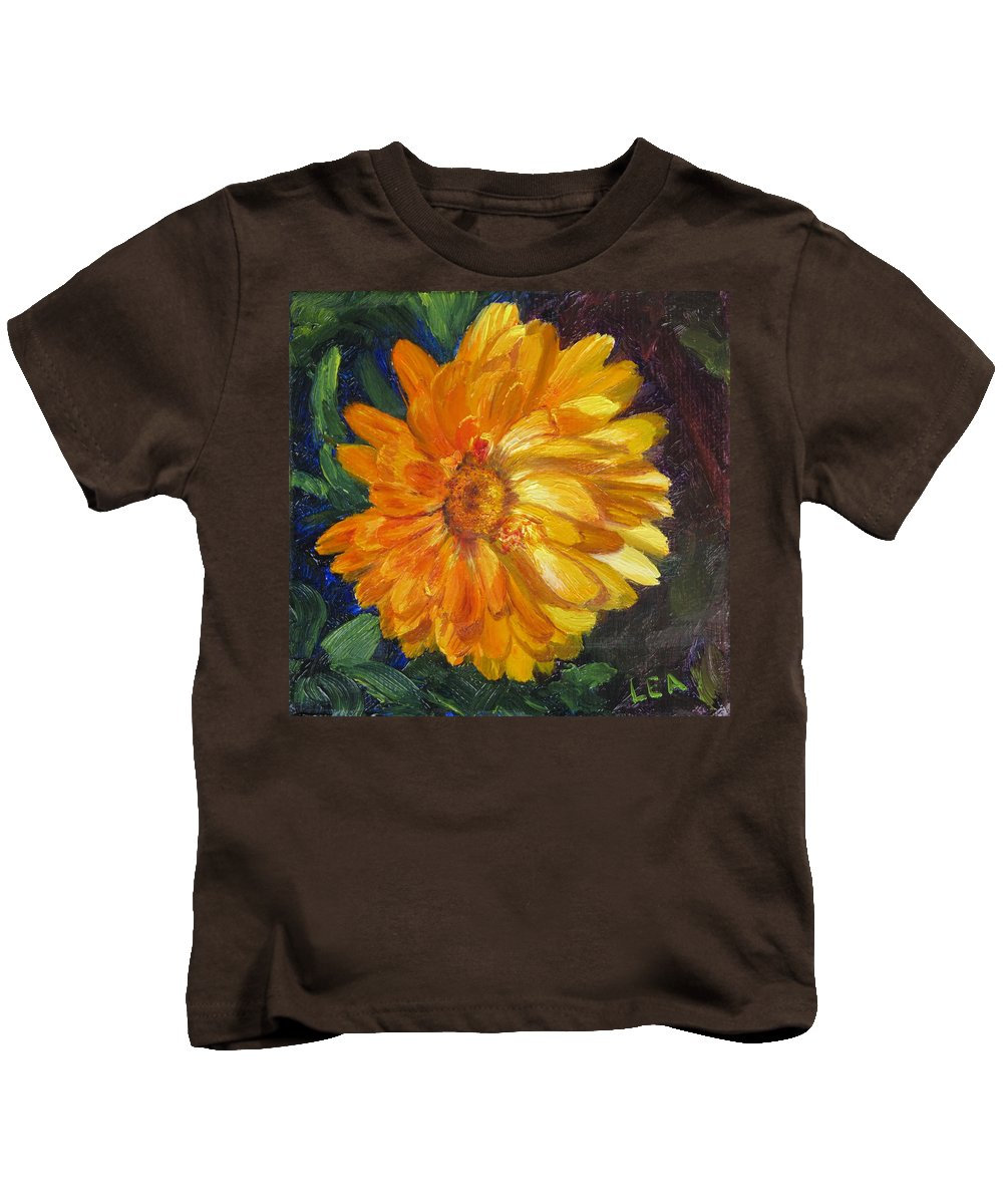 Flower Painting Kids T-Shirt featuring the painting Even The Flowers In Autumn Are Golden by Lea Novak