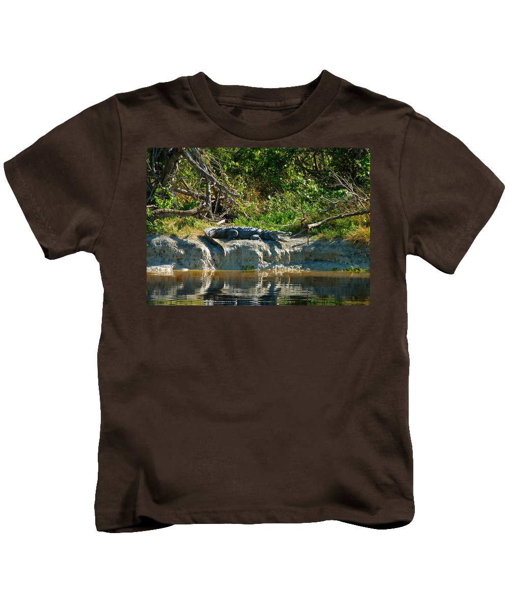 Everglades National Park Kids T-Shirt featuring the photograph Everglades Crocodile by David Lee Thompson