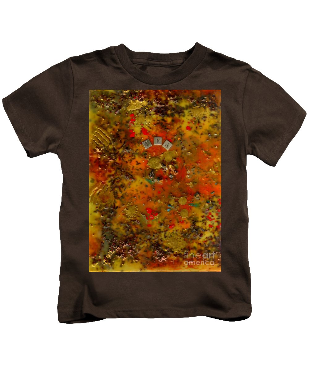 Wood Kids T-Shirt featuring the mixed media Evolution Of Tea by Angela L Walker