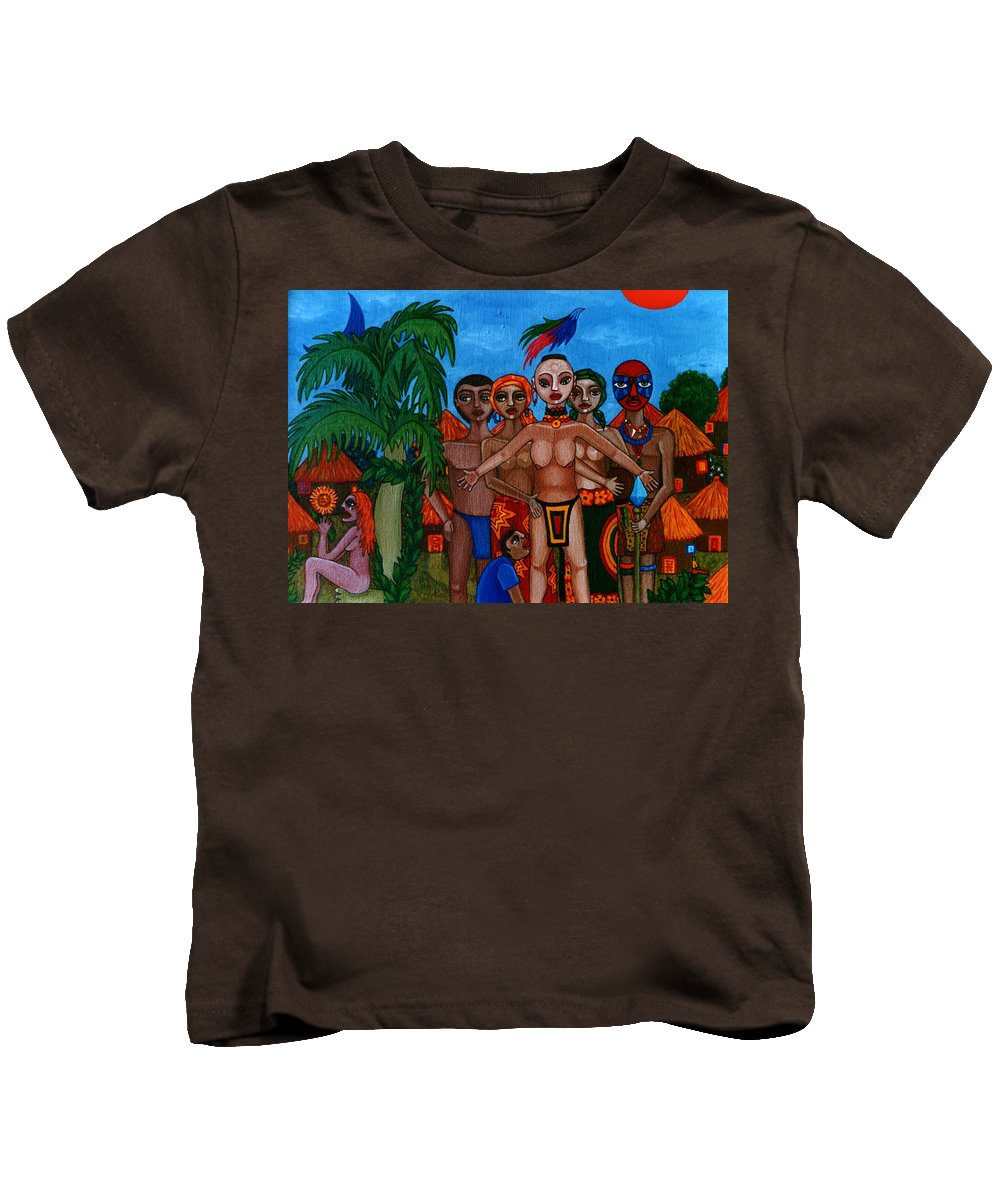 Homeland Kids T-Shirt featuring the painting Exiled In Homeland by Madalena Lobao-Tello