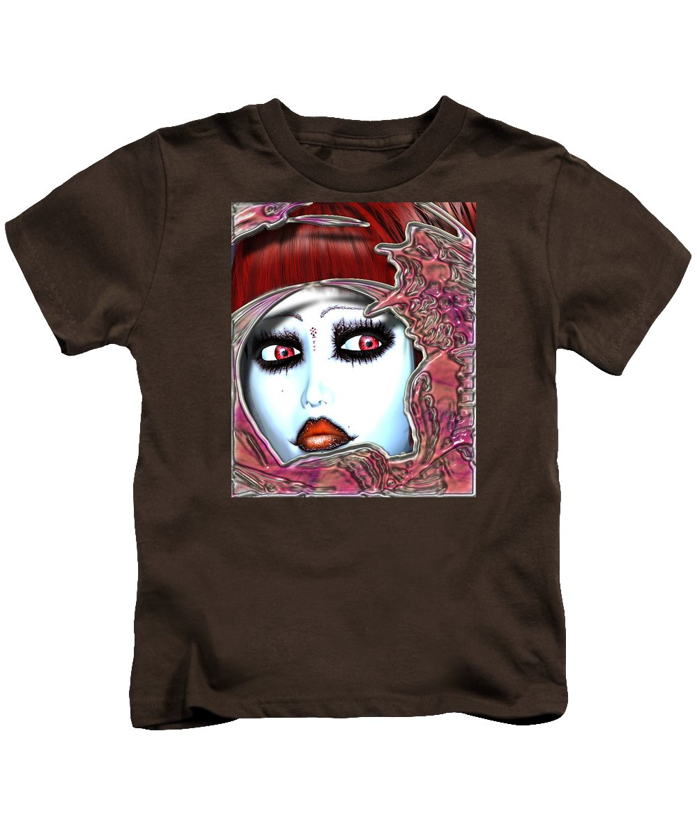 Art Kids T-Shirt featuring the digital art Face by Dorothy Lee