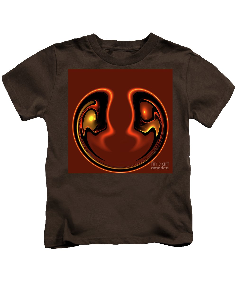 Abstract Face Together Eye Eyes Symbol Friendship Friends Couple Balance Brown Kids T-Shirt featuring the photograph Face To Face by Steve K