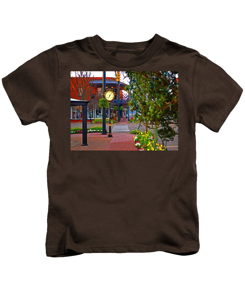 Fairhope Kids T-Shirt featuring the painting Fairhope Ave With Clock Down Section Street by Michael Thomas