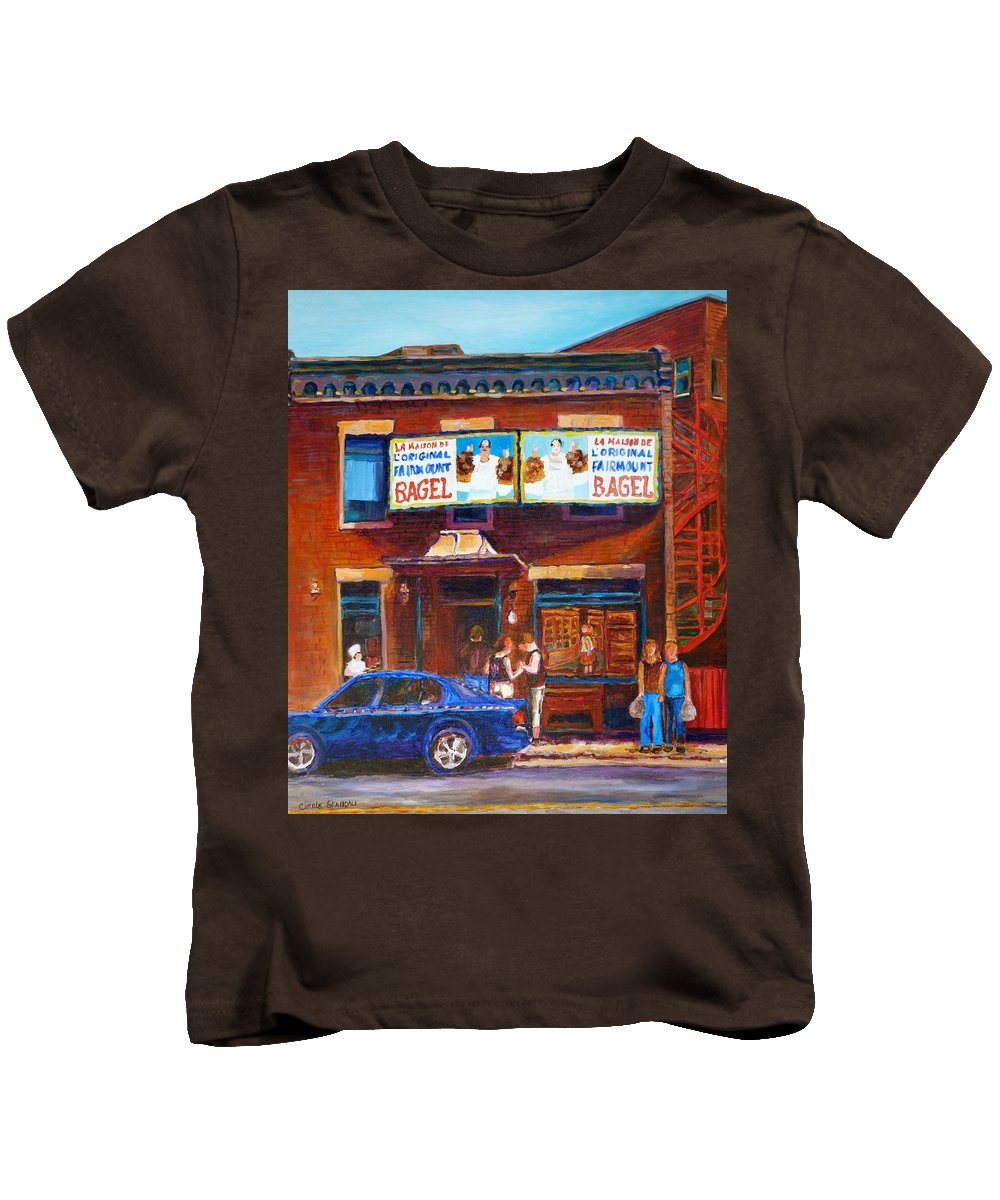Fairmount Bagel Kids T-Shirt featuring the painting Fairmount Bagel With Blue Car by Carole Spandau