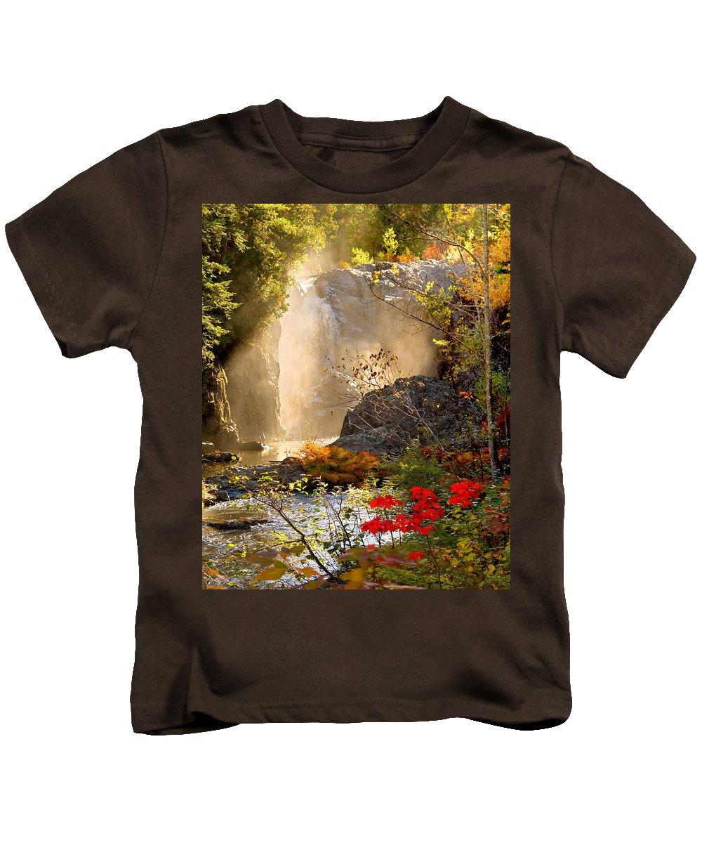Fall Kids T-Shirt featuring the photograph Fall Falls Mist Dead River Falls Marquette Mi by Michael Bessler