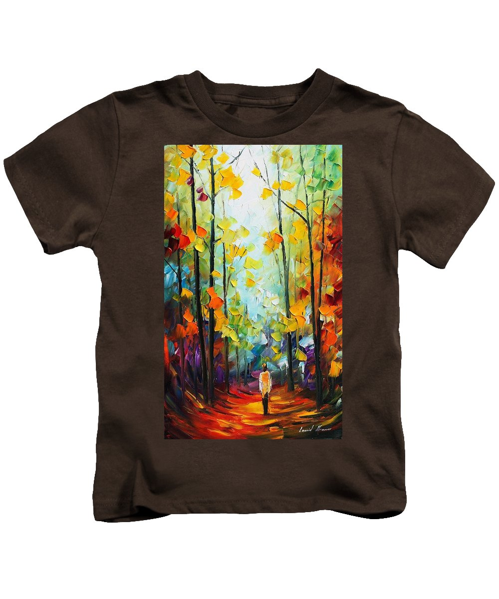 Afremov Kids T-Shirt featuring the painting Fall Forest by Leonid Afremov