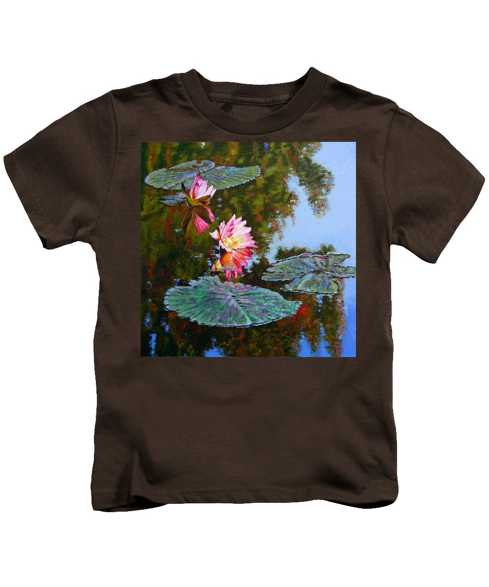 Water Lily Kids T-Shirt featuring the painting Fall Glow by John Lautermilch