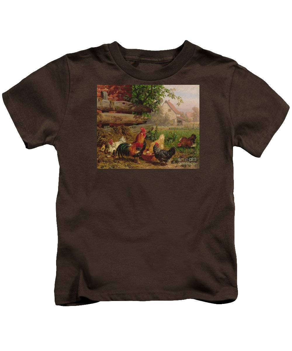Chicken Kids T-Shirt featuring the painting Farmyard Chickens by Carl Jutz