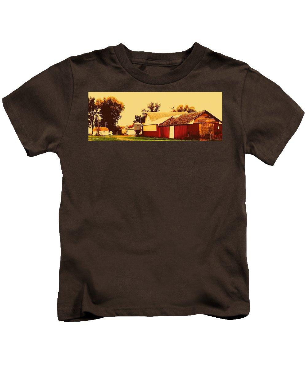 Garage Kids T-Shirt featuring the photograph Farmyard by Curtis Tilleraas