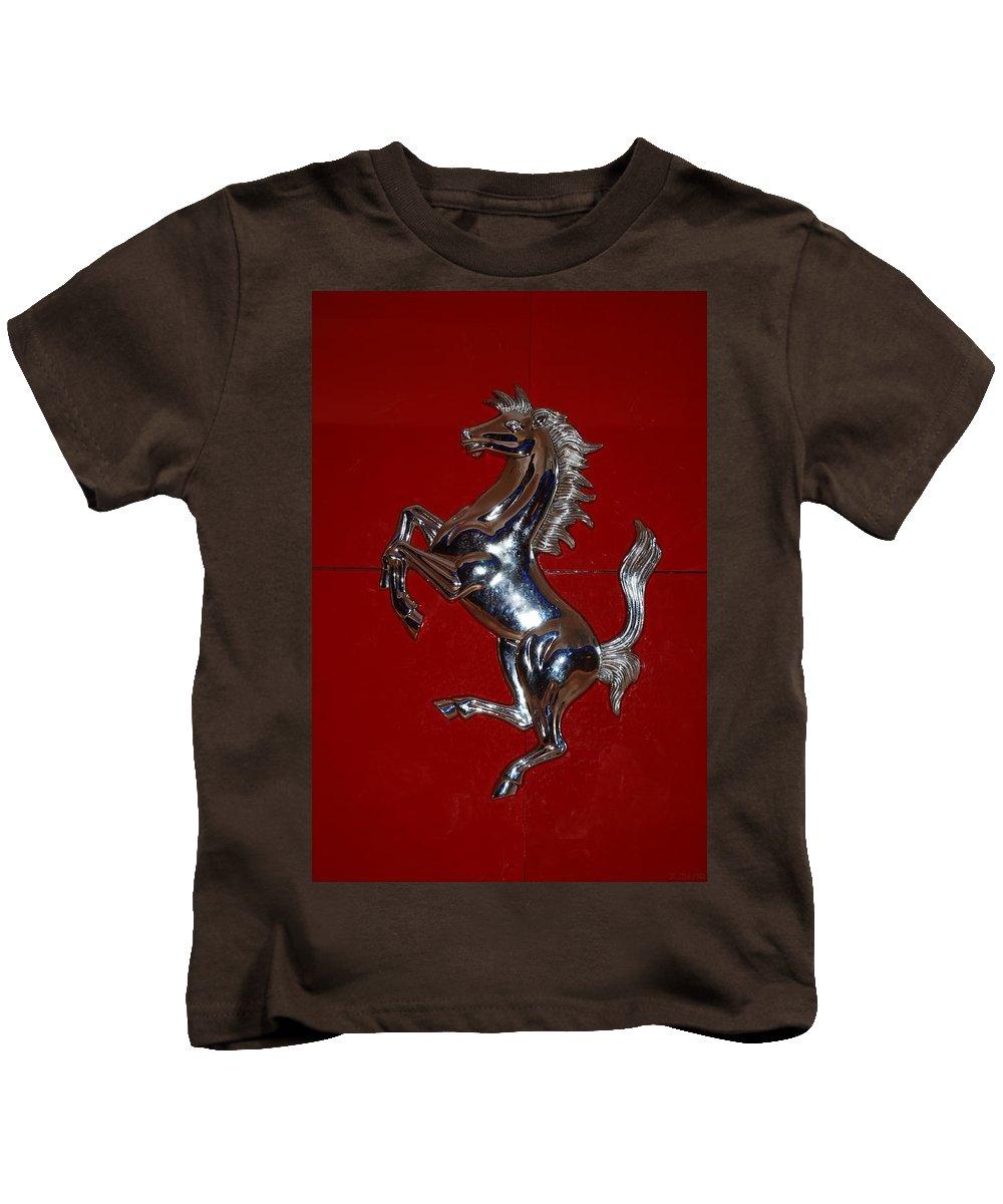 Pop Art Kids T-Shirt featuring the photograph Ferrari Stallion by Rob Hans