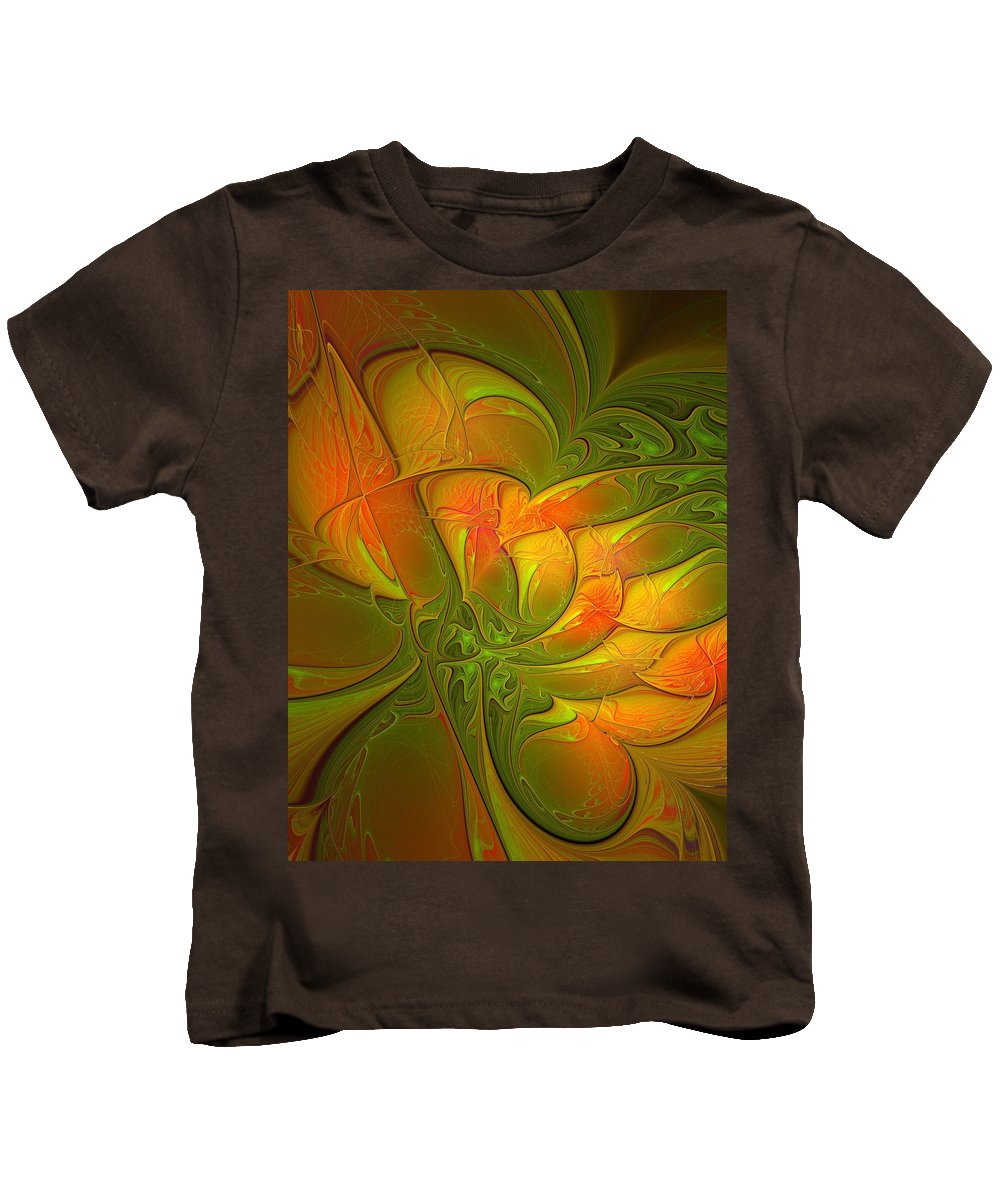 Digital Art Kids T-Shirt featuring the digital art Fiery Glow by Amanda Moore