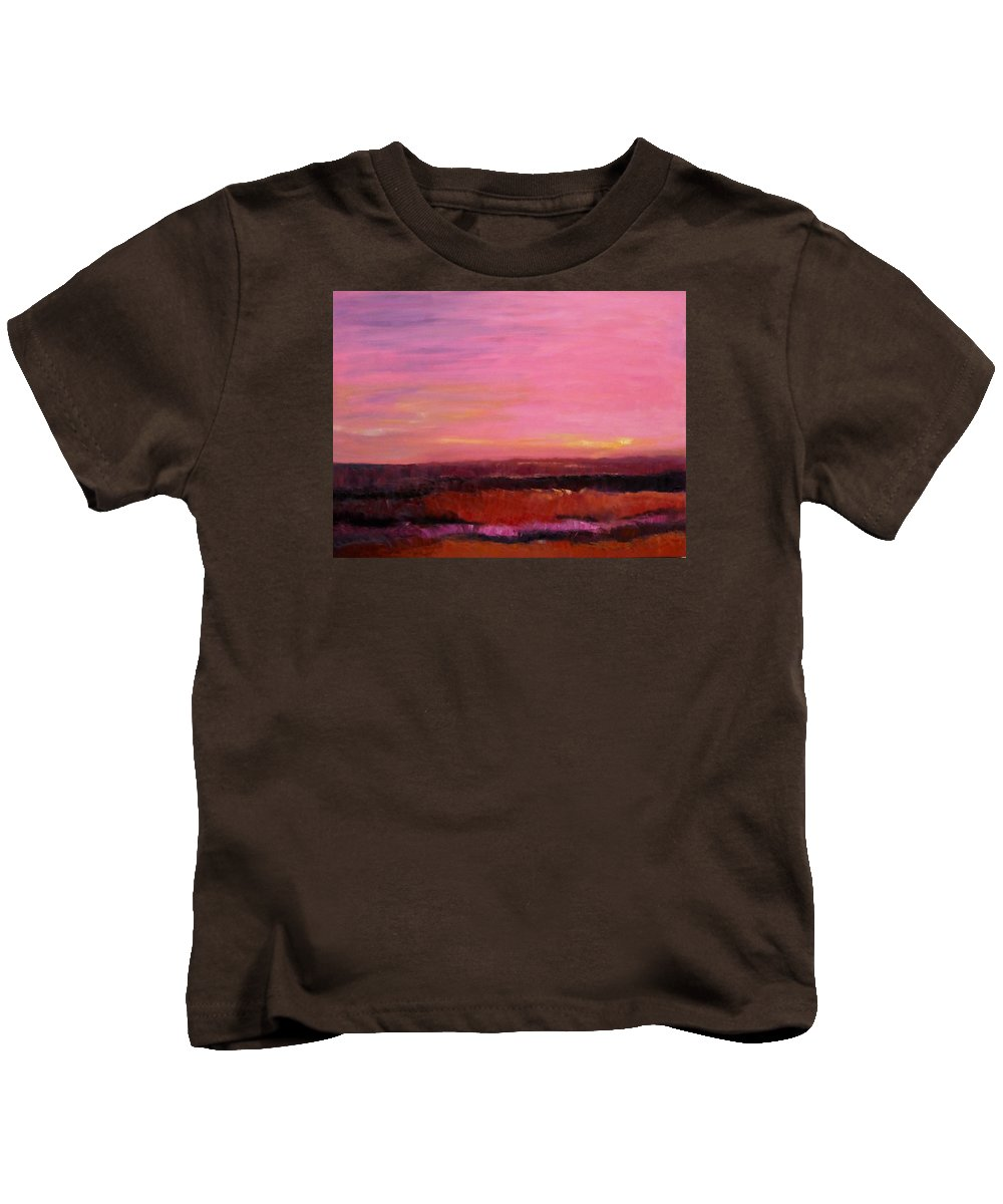 Sky Kids T-Shirt featuring the painting Sold Fiery Sea by Irena Jablonski