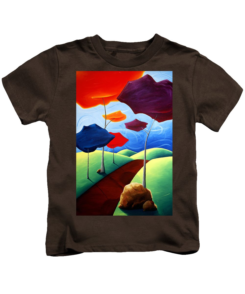Landscape Kids T-Shirt featuring the painting Finding Your Way by Richard Hoedl