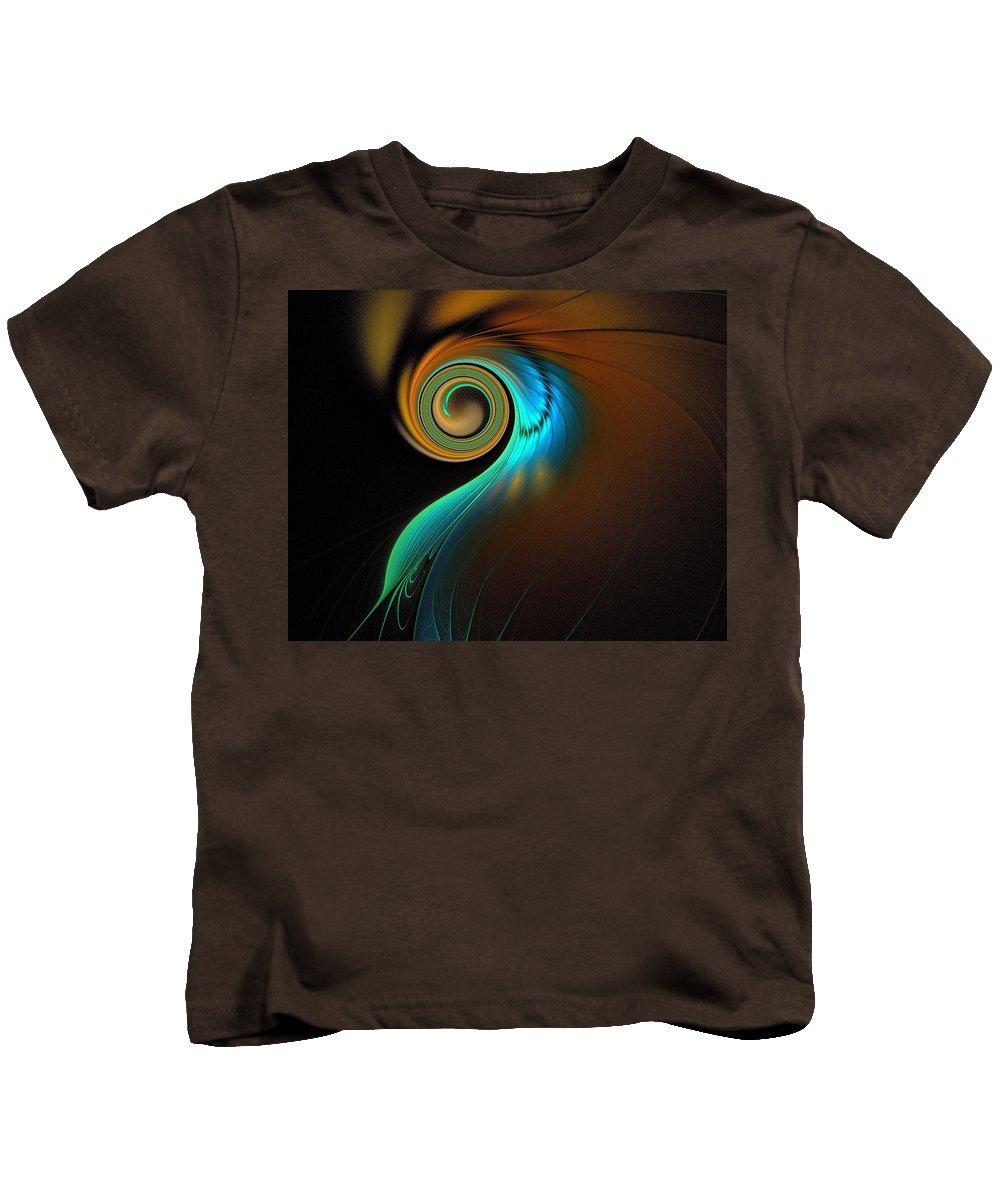 Digital Art Kids T-Shirt featuring the digital art Fine Feathers by Amanda Moore
