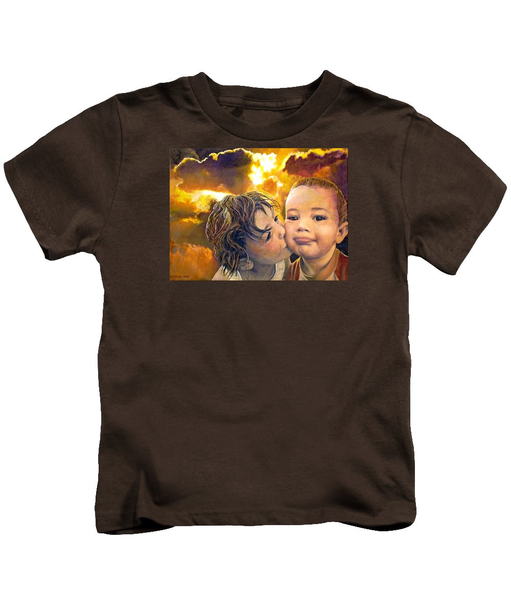 Children Kids T-Shirt featuring the painting First Kiss by Michael Durst