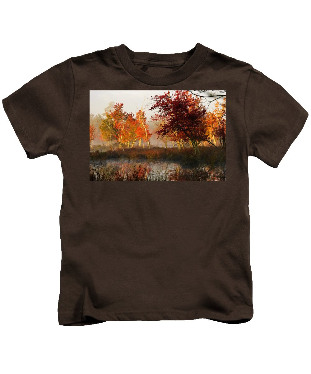 Landscape Kids T-Shirt featuring the photograph First Light At The Pine Barrens by Louis Dallara