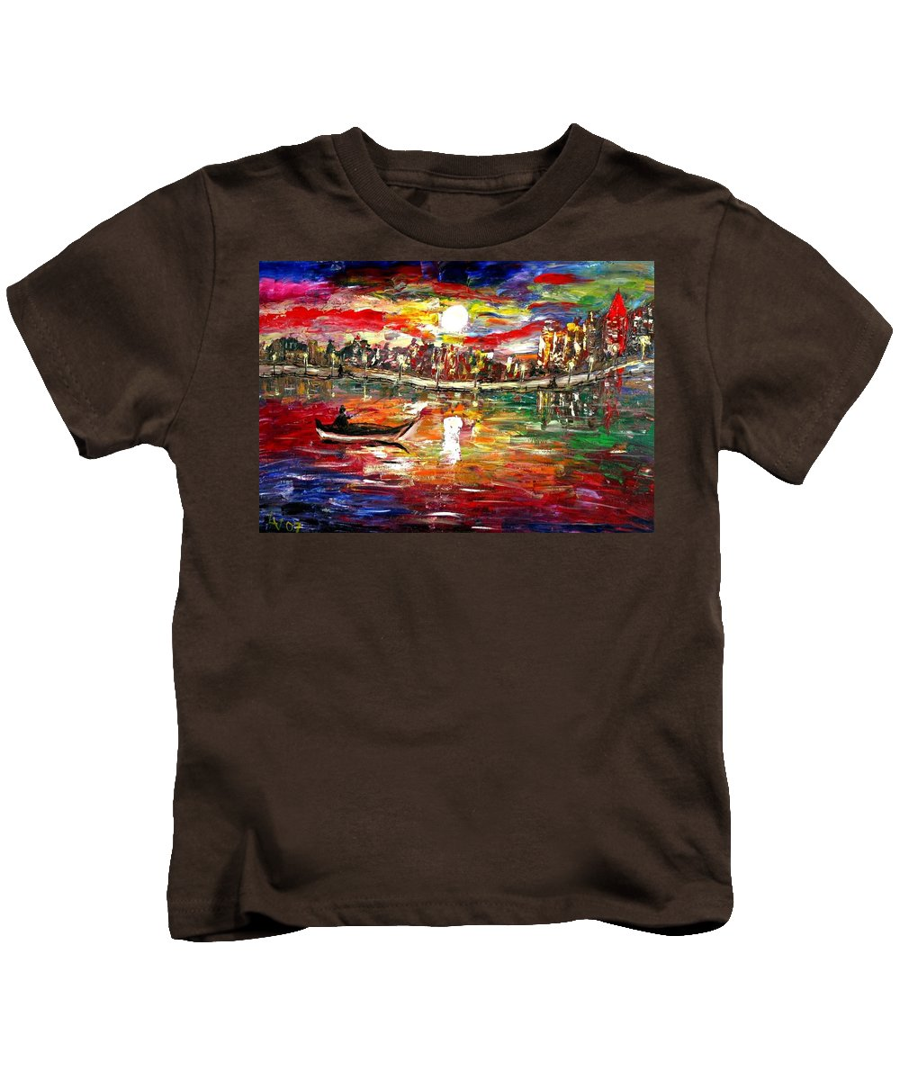 Art Kids T-Shirt featuring the painting Fishing In The Moonlight by Luiza Vizoli