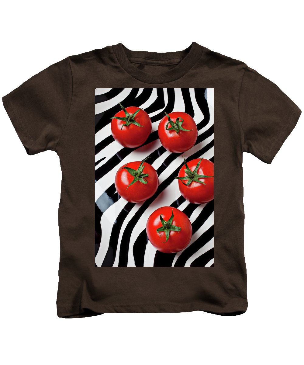 Tomato Kids T-Shirt featuring the photograph Five Tomatoes by Garry Gay