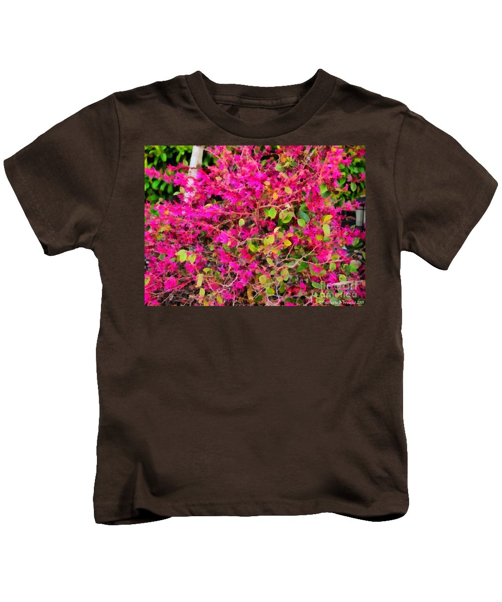 Flame Kids T-Shirt featuring the painting Flame Bush by Paulette B Wright